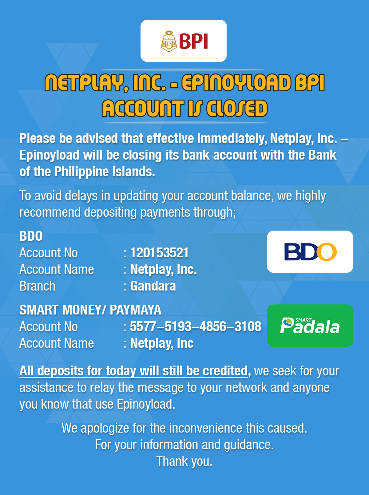 Announcement-BPI Account