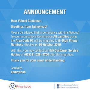 (2019-10-04) - Announcement 8 Digit Phone